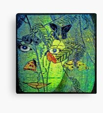 Girl in a Forest 2- Woodcut Print Canvas Print