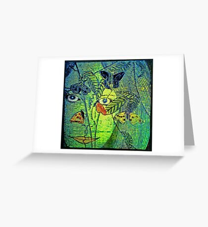 Girl in a Forest 2- Woodcut Print Greeting Card