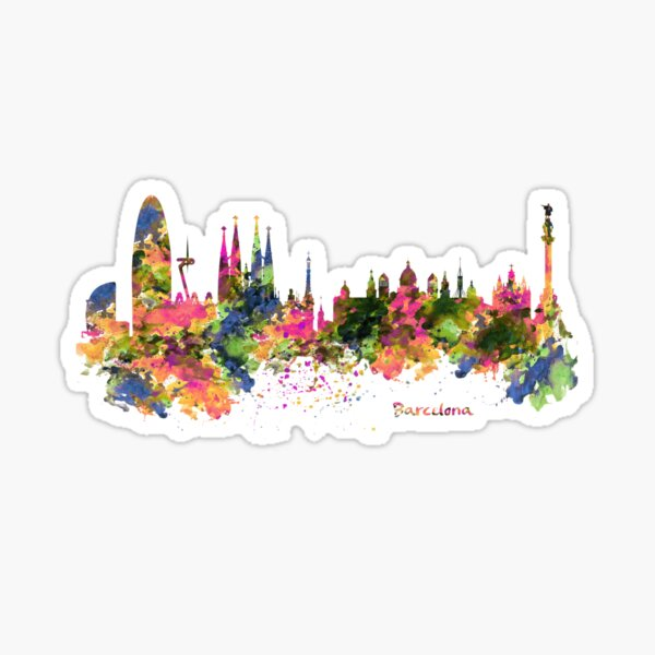 Barcelona Watercolor Skyline Sticker