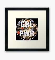 Black floral feminism typography girl power GRL PWR Framed Print