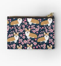 Corgi welsh corgi cherry blossom trees spring dog dogs dog breed dog pattern pet friendly Zipper Pouch