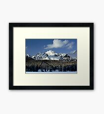The Tatra mountains seen from Strbske Pleso, Slovakia Framed Print