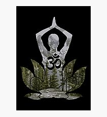 OM Namaste Yoga Pose Mountain Forest Duality  Photographic Print