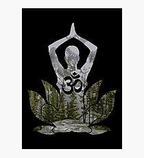30a63b07b0 OM Namaste Yoga Pose Mountain Forest Duality Photographic Print