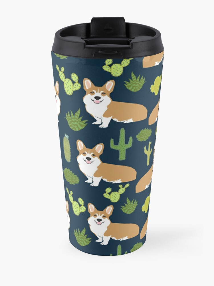 Alternate view of Corgi welsh corgi southwest cactus dog dogs dog breed dog pattern pet friendly Travel Mug
