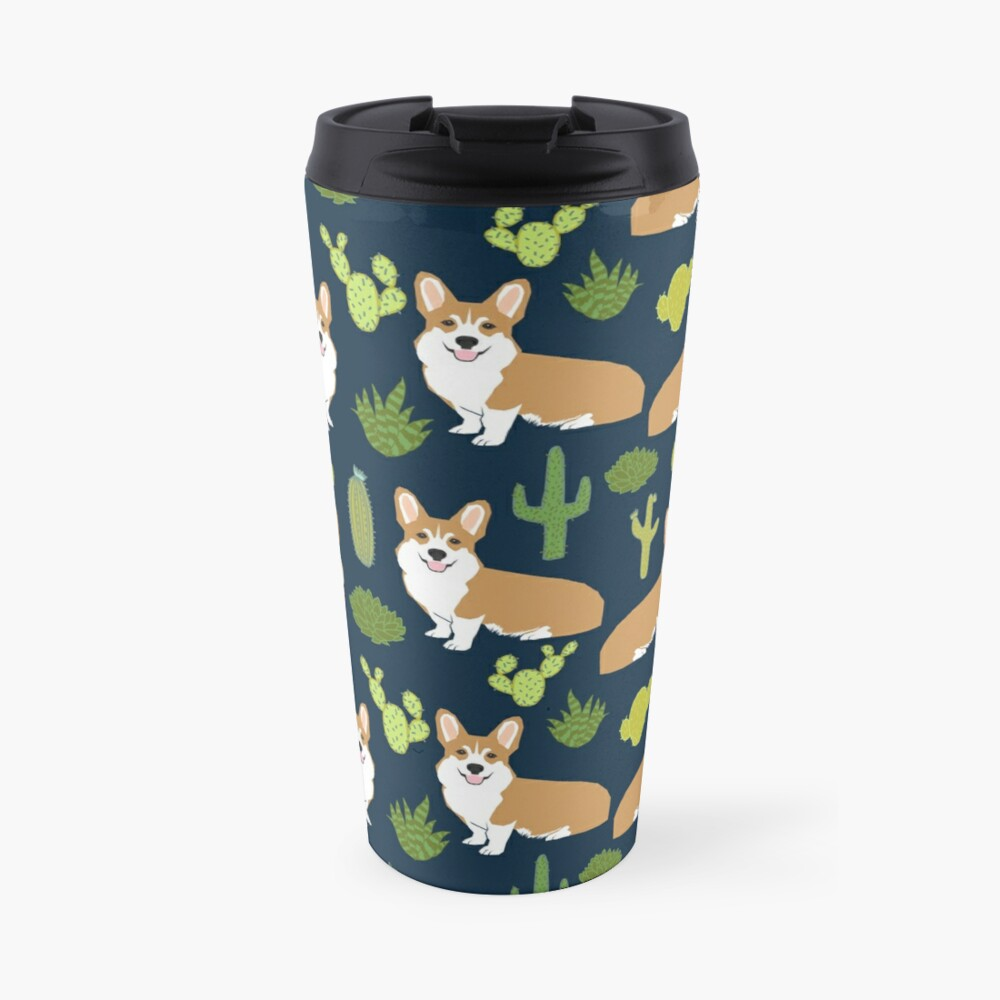 Corgi welsh corgi southwest cactus dog dogs dog breed dog pattern pet friendly Travel Mug