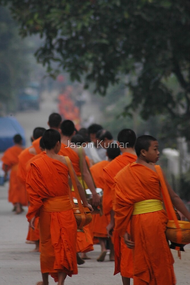 laos morning alms by Jason Kumar