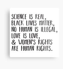 Science is real, no human is illegal, black lives matter, love is love, and womens rights are human rights Metal Print