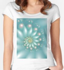 Blue fractal Women's Fitted Scoop T-Shirt
