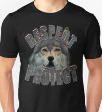 RESPECT PROTECT Wolf Design T-Shirt