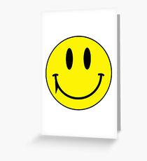 Yellow face smiling with fang vampire Greeting Card