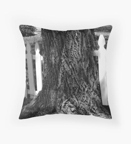 The Fence and The Tree Throw Pillow