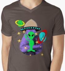 Cute Alien Space Ship In Outer Space Fun Graphic Men's V-Neck T-Shirt