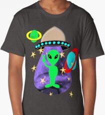 Cute Alien Space Ship In Outer Space Fun Graphic Long T-Shirt