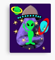 Cute Alien Space Ship In Outer Space Fun Graphic Canvas Print