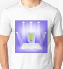 Blue SIM Card  on Light Background. SIM Card on the White Steps. T-Shirt