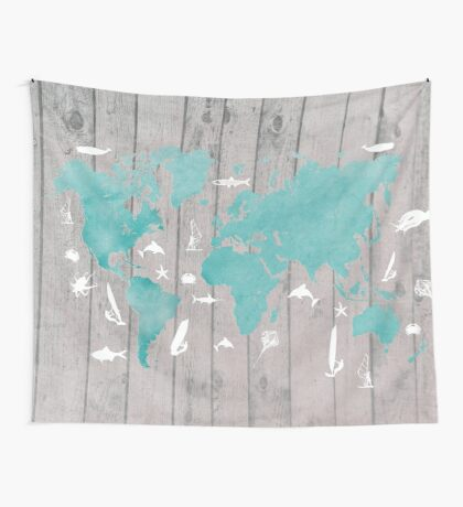 world map 100 fish and surf #worldmap #map Wall Tapestry