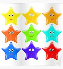 Set of Colorful Stars Isolated onWhite Background. Poster