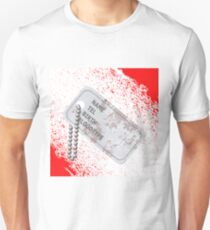 Military Dog Tag on Blood Background. Silver Identity Tag. Unisex T-Shirt