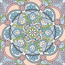 Introspective Mandala in Blue, Pink, Grey and White by Kelly Dietrich
