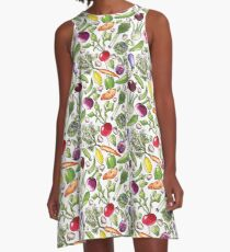 Watercolor Veggie Bonanza A-Line Dress