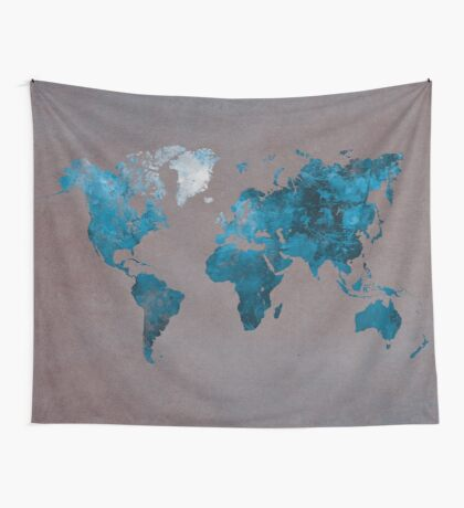 world map 104 blue #worldmap #map Wall Tapestry