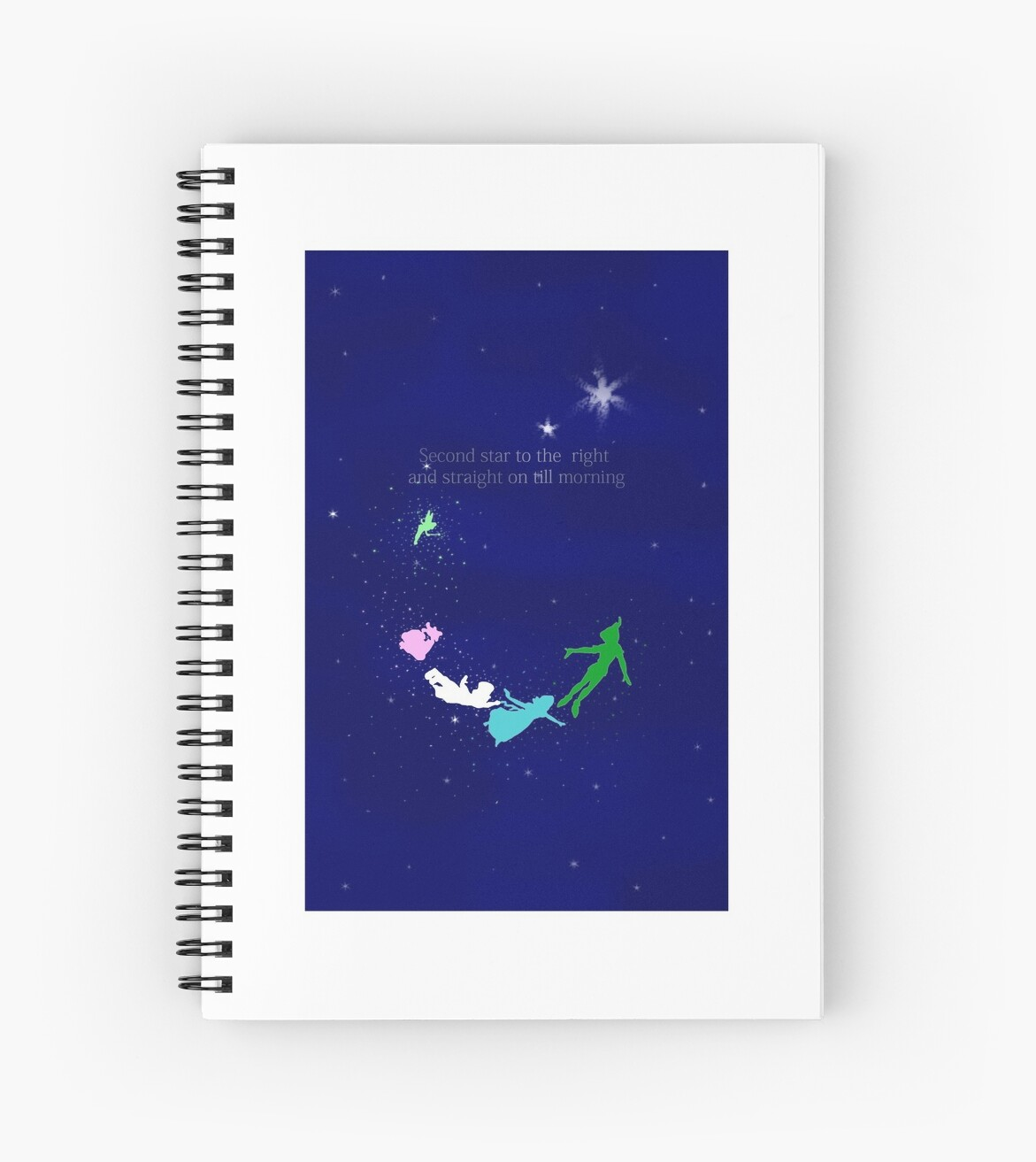 Second Star To The Right Quote Spiral Notebooks By Magictypewriter