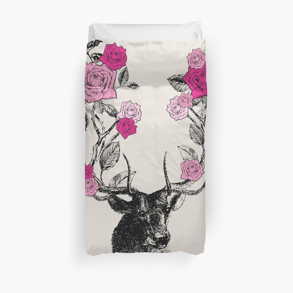 The Stag and Roses | Deer and Roses | Stag and Flowers | Deer and Flowers | Vintage Stag | Antlers | Woodland | Highland | Pink and Beige |  Duvet Cover