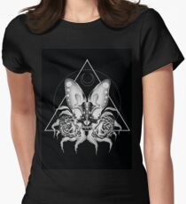Bat Skull with Roses - Black version Womens Fitted T-Shirt