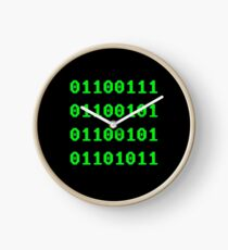 Geek in Binary Code - Retro Funny Coding Programmer clothing Clock