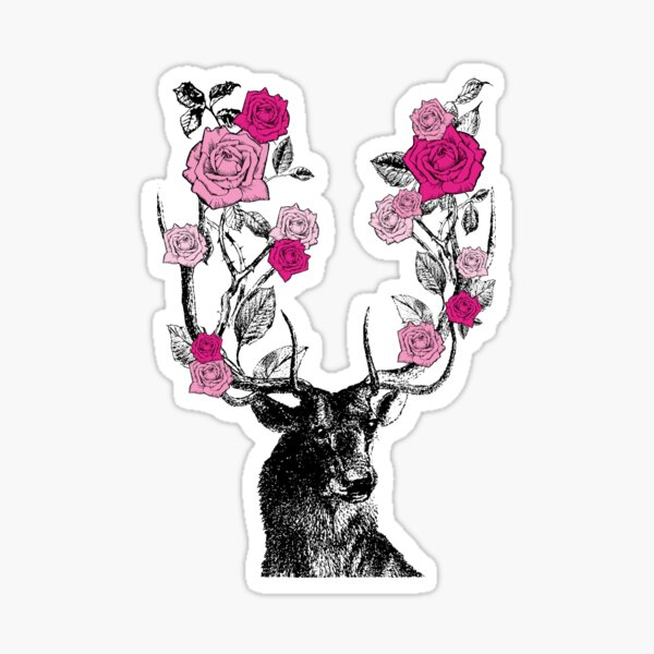 The Stag and Roses | Deer and Roses | Stag and Flowers | Deer and Flowers | Vintage Stag | Antlers | Woodland | Highland | Pink |  Sticker