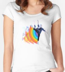 Girl Dancing with Rainbow Women's Fitted Scoop T-Shirt