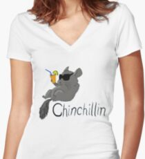 Chin Chillin Women's Fitted V-Neck T-Shirt