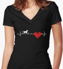 Special Flat-Coated Retriever(Flatcoat) Heartbeat Dog T-shirt  Women's Fitted V-Neck T-Shirt