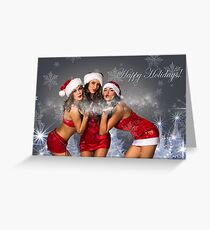 Sexy Santa's Helpers Holiday postcard Wallpaper Template - 3 girls Greeting Card