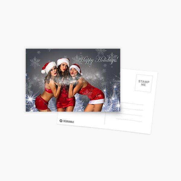 Sexy Santa's Helpers Holiday postcard Wallpaper Template - 3 girls Postcard