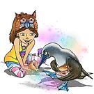 Lolli and Andy the Blue-footed Booby by Elena Paige