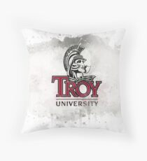 Troy State University Rustic Watercolor Logo Throw Pillow