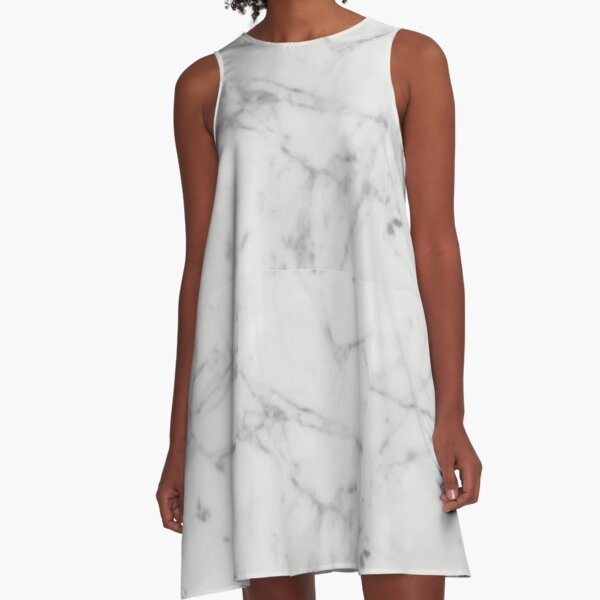 White Marble Stone Texture Pattern A-Line Dress
