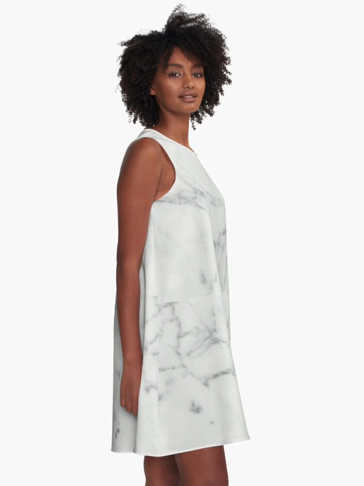 Alternate view of White Marble Stone Texture Pattern A-Line Dress