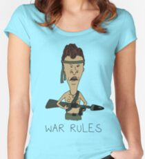 "Beavis & Butthead - ""War Rules"" Rambo Design Women's Fitted Scoop T-Shirt"