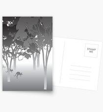 Morning Fog - kangaroos - Australian bush scene Postcards