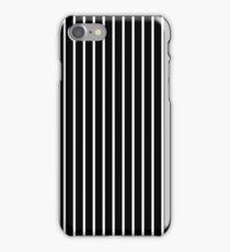 BLACK BACKGROUND WHITE THIN STRIPE iPhone Case/Skin