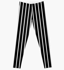 BLACK BACKGROUND WHITE THIN STRIPE Leggings