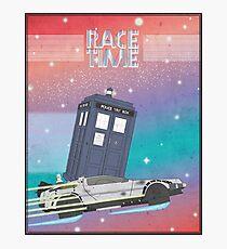 Doctor Who Tardis Delorean Back to the Future mashup Photographic Print