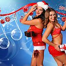 Sexy Santa's Helpers Holiday postcard, Wallpaper, Club Flyer Template with musical notes on blue 3D background by Anton Oparin