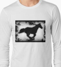 Western-look Galloping Horse Silhouette Long Sleeve T-Shirt