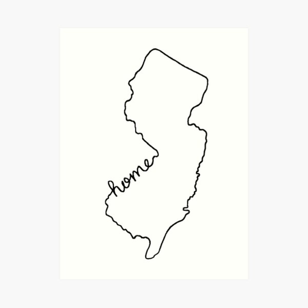 New Jersey Home State Outline Art Print