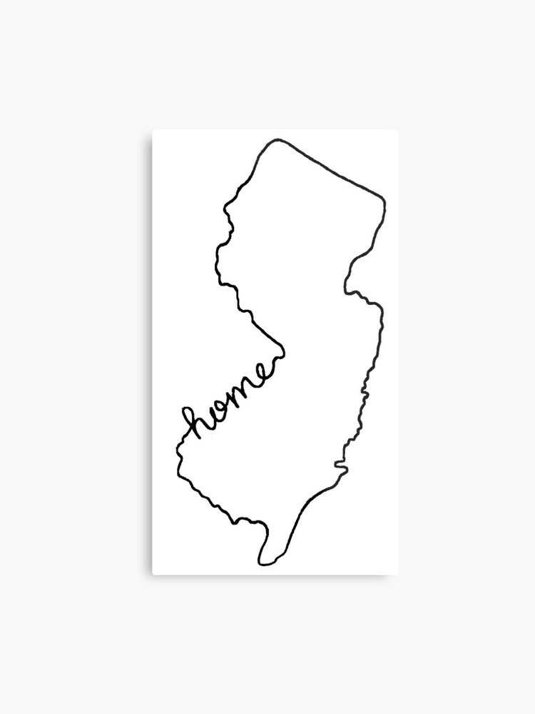 New Jersey Home State Outline | Metal Print