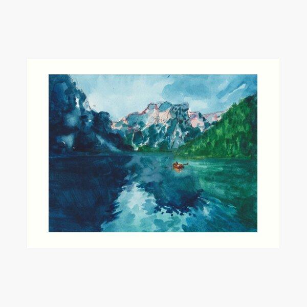 lake nature scene (with boat!!!) Art Print